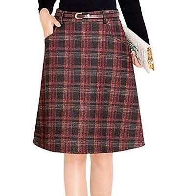 Wincolor Women's High Waist Wool Blend A-line Plaid Checked Midi Tartan Skirt Knee Length with Waistband