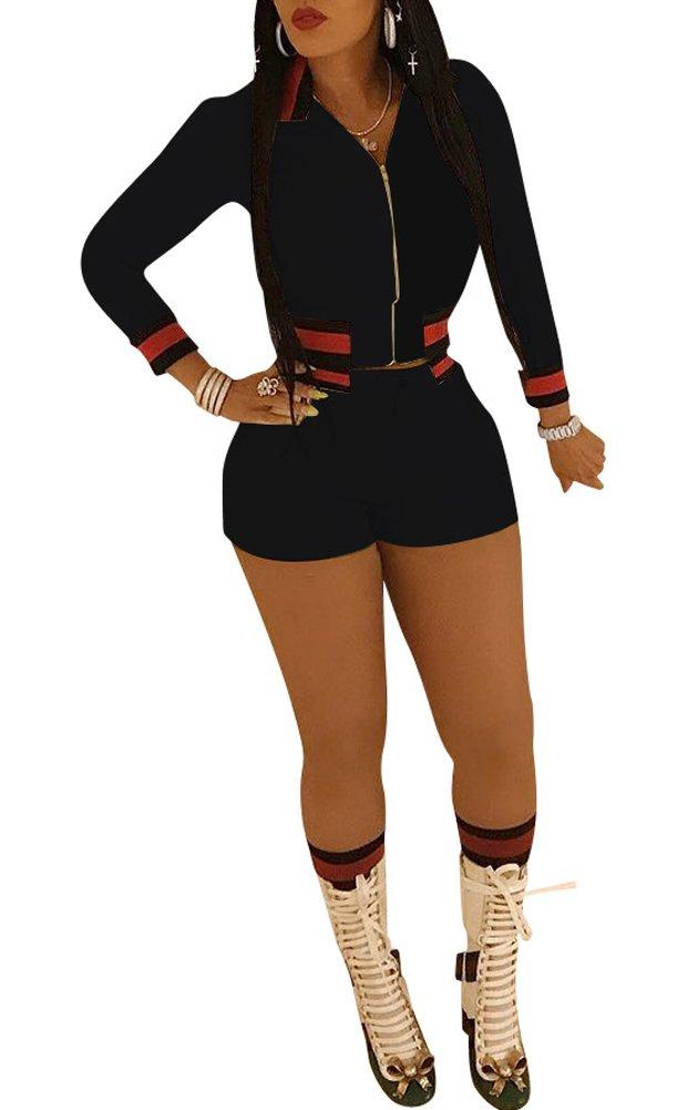 Vamvie Women's 2 Pieces Long Sleeve Front Zip Up Lapel Coat+Shorts Activewear Slim Fit Romper Black XL