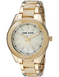Anne Klein Women's  Gold-Tone and Horn Resin Bracelet Watch