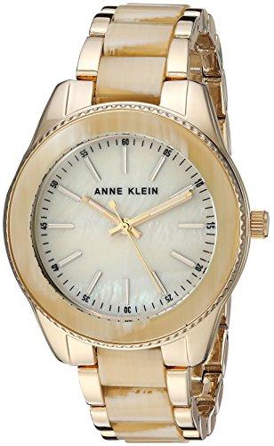 Anne Klein Women's  Gold-Tone and Horn Resin Bracelet Watch