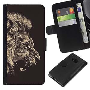 KingStore / Leather Etui en cuir / HTC One M7 / Fierce Rugido del león Majestic