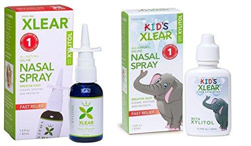 XLEAR Nasal Spray and Kid's Nasal Spray Bundle With Xylito