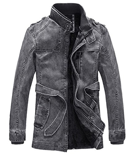 Jacket Mens Leather Thicken Outerwear Parka Winter Coat Outdoor Gray PU Long Warm Trench 0r0q1WS