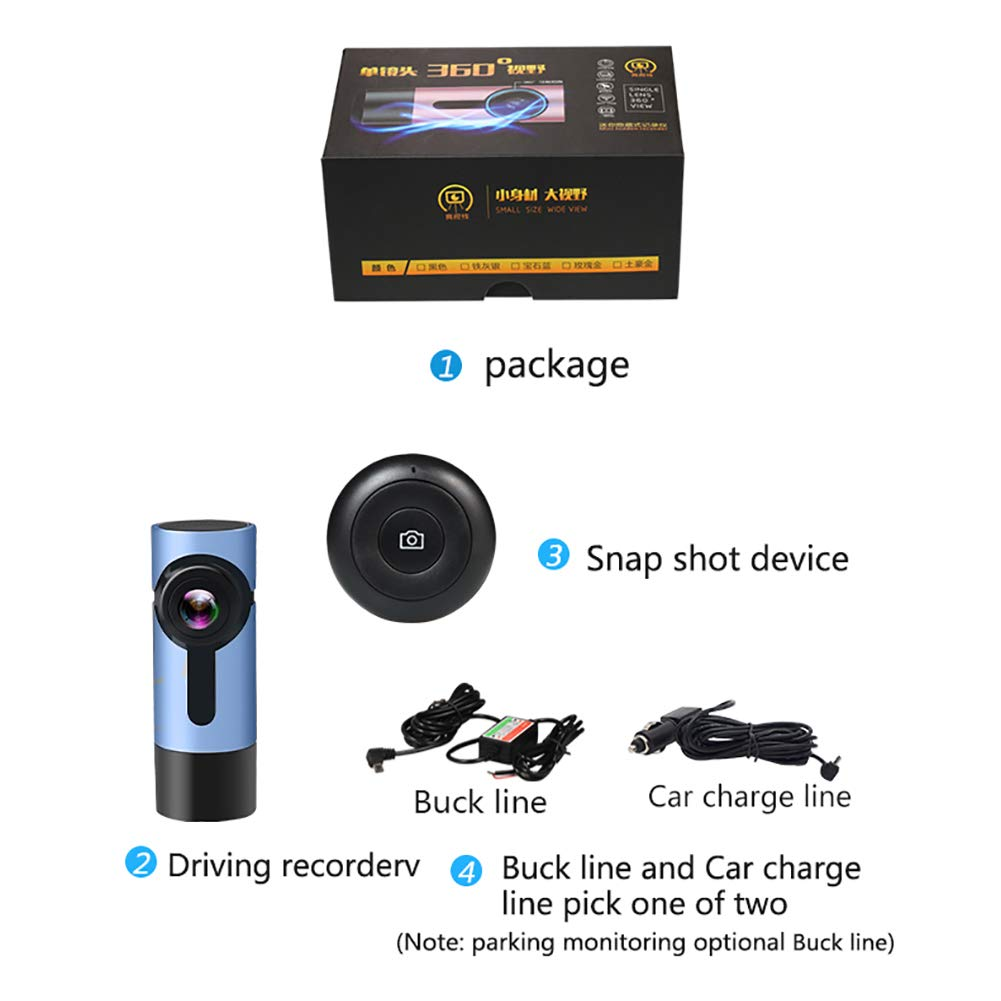ZYWX-Dash-Cam-Driving-Recorder-360-Panorama-Full-HD-1080P-Parking-Monitoring-Loop-Recording-Night-Vision-One-Click-Capture-Hidden-CameraBlue