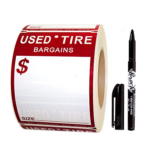 500 Pc Roll Set Used Tire Tag Sales Staple-On Tape Labels Red & White 4