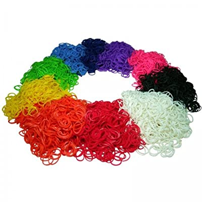 6000 Pieces Rubber Band Refill Mega Value Pack with Clips (Rainbow Colors 600 each of Red, Yellow, Green, Blue, Pink, Purple, Black, White, Turquoise, and Orange) - 100% Compatible with all Looms