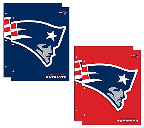 New England Patriots NFL 2-Pocket School Folders, 4 Pack, 9.5