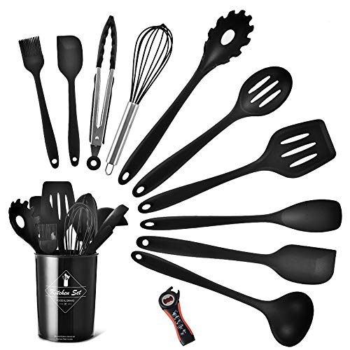 Silicone Kitchen Utensil Set, Heat-Resistant Non-Stick Silicone Cooking Tools (black holder)
