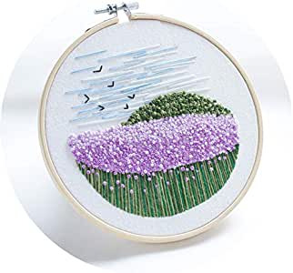 Monterey - Lavender Field, Handmade Embroidery Starter Kit for Beginners (Includes Patterned Embroidery Cloth, Bamboo Hoop, Color Floss, Tools Kit)
