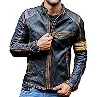 Mens Vintage Cafe Racer Motorcycle Distressed Biker Leather Jacket
