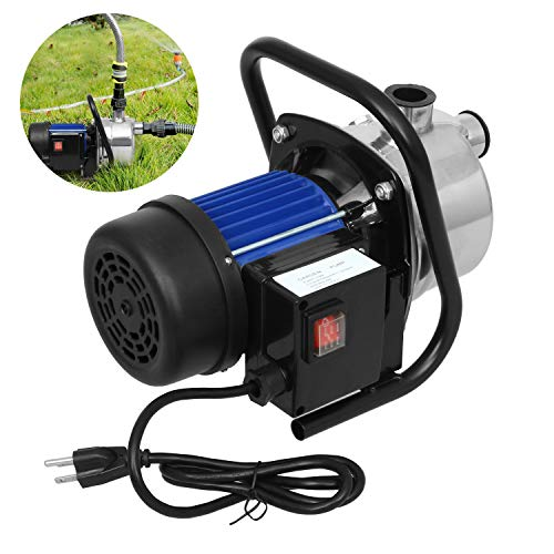 Water Transfer Pump 845 GPH, 1.6HP Stainless ON/Off Irrigation Pump, Shallow Well Pump for Lawn Garden (Stainless Steel Blue 110-120V)