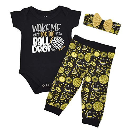 Unique Baby Girls Wake for The Ball Drop New Years Outfit Layette Set (Newborn)