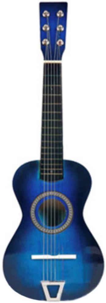 Foxom Guitarra Niños 23 Pulgada 6 Cuerdas Madera Guitarra Juguetes - Instrumento Musical para Niño y Niña de 3 años + (Azul)