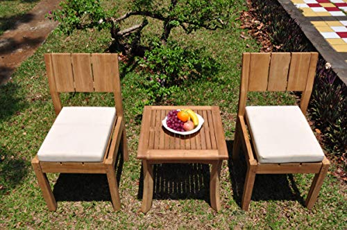 TeakStation 2 Seater Grade-A Teak Wood 3 Pc Dining Set: Giva Side Table and 2 Veranda Armless Chairs #TSDSVRb ()