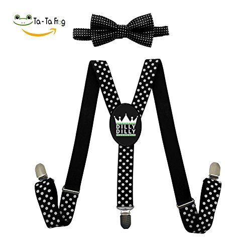XTQI Dilly Dilly St. Patrick's Day Suspenders Bowtie Set-Adjustable Length