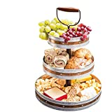 Tiered Serving Stand 3 Tier Tray With Handle Party Trays and Platters Galvanized
