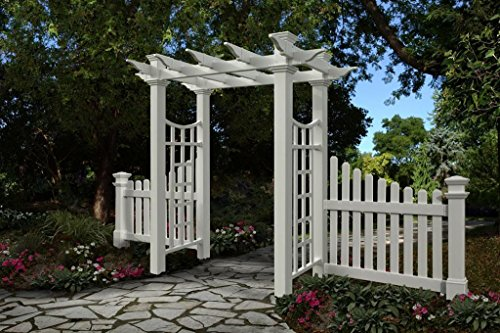 Cottage Picket Wings (GHP Fairfield Deluxe Arbor w/ Cottage Picket Wings Garden Patio Arch)
