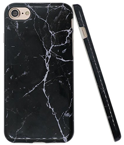 Iphone 8 Black Marble Case, Iphone 7 Case, A-Focus IMD Design Marble Pattern Stone Texture Soft Flexible TPU Slim Fit Cover Case for Iphone 7 / Iphone 8 4.7