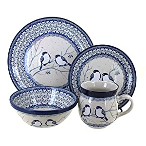 Blue Rose Polish Pottery Bluebird 16 Piece Dinnerware Set