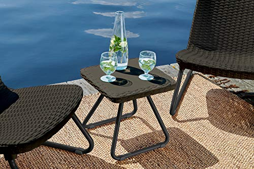 Keter Rio 3 Pc All Weather Outdoor Patio Garden Conversation Chair & Table Set Furniture, Brown by Keter (Image #7)'