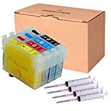 INKUTEN® - 4 Refillable Cartridges for EPSON 220 T220 T220XL USA pigment ink XP-320 XP-420 XP-424 WorkForce WF-2630 WF-2650 WF-2660 WF-2750