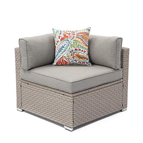 (COSIEST Outdoor Furniture Add-on Left Corner Chair for Expanding Wicker Sectional Sofa Set w Warm Gray Thick Cushions, 1 Floral Fantasy Pillow for Garden, Pool, Backyard)