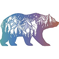 "Pretty Pastel Ombre Hipster Art Drawing - Outdoor Wilderness Bear Vinyl Decal Sticker (4"" Wide)"