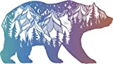 Pretty Pastel Ombre Hipster Art Drawing - Outdoor Wilderness Bear Vinyl Decal Sticker (4' Wide)