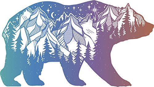 Pretty Pastel Ombre Hipster Art Drawing - Outdoor Wilderness Bear Vinyl Decal Sticker (4