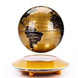 YANGHX Magnetic Levitation Floating Globe With Flying Saucer Base Gold-yellow LED Light Anti Gravity Rotation Levitating Globe Map ( 6 inch )