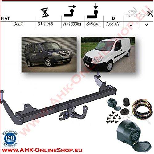Rimorchio con fascio 13 pin | Fiat Doblo di 2001 A 2009/gancio 'collo di cigno smontabile con strumenti AHAKA AHDF003ES13