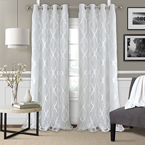 Newbridge Elrene Bethany Sheer Lattice Pattern Curtain with attached Faux Silk Woven Blackout Lining, Grommet Top Curtain Panel, 52 Inch Wide X 84 Inch Long, Fog White