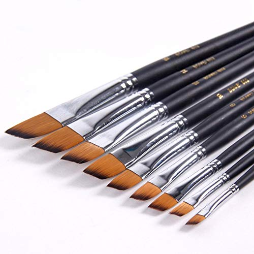 Sable Angle - GOLDEN MAPLE 9Pcs Sable Weasel Hair Angled Flat Tipped Paint Brushes Set Birch Long Handle for Watercolor,Acrylic and Liner Painting, 6 Sizes