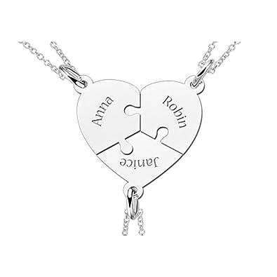 5a7b772dd2e3 Nombre for ever 3-Dekospass-Puzzle-Corazón-remolque-con 3 nombres grabados  y 3 cadenas de plata  Amazon.es  Joyería