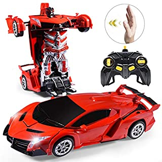 Janboo 1:14 RC Cars Robot for Kids, Transformrobot Racing Toys, Gesture Sensing Remote Control Car with One-Button Deformation Auto Demo, 360° Rotation Light Music Car Best Gift for Boys Girls (Red)