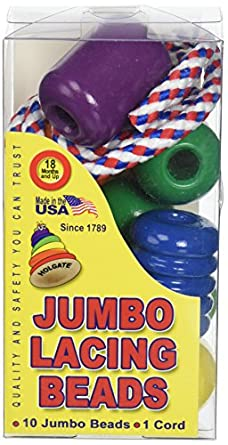 """Pepperell Braiding HZ1016 Jumbo Lacing Beads Classic Made in USA Wood Toy, 3.6"""" Height, 1.25"""" Width, 2"""" Length (Pack of 10)"""