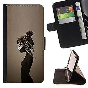 Momo Phone Case / Flip Funda de Cuero Case Cover - Marrón Profundo triste Depresión Emo - Motorola Moto E ( 2nd Generation )