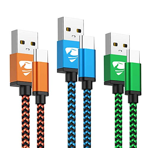USB Type C Cable Fast Charging Cable Aioneus 6FT 3Pack Charger Cable Nylon Braided Charging Cord Compatible Samsung Galaxy A20e A10e A50 A70 A40 A20 S8 S9 S10 Note 9 8, Moto G6 G7 Z3, Z4, LG, Huawei