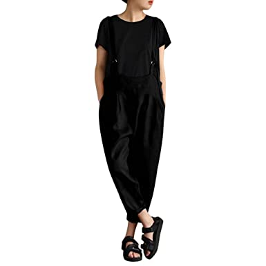 4b01b0ee74e1 Mounter Women Plus Size Strap Overalls Dungarees Retro Loose Casual Harem  Pants Baggy Strap Sleeveless Overall Long Loose Fit Jumpsuit Playsuit  Trousers  ...