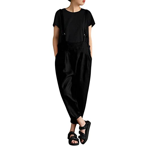 d66c60df55 Amazon.com: Usstore Women Cotton Linen Bib Pants Spring Fall Fashion Casual  Harem Overalls Pockets Loose Daily Holiday Trousers: Clothing