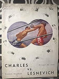 EZZARD CHARLES vs Gus Lesnevich-WORLD HWC-1949-BOXING PROGRAM Yankee Stadium