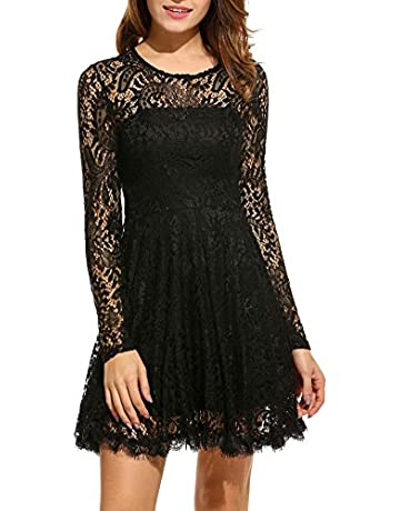 5d42a0a41597 ANGVNS Women Elegant Long Sleeve A Line Party Cocktail Formal Swing Lace  Dress with Lining