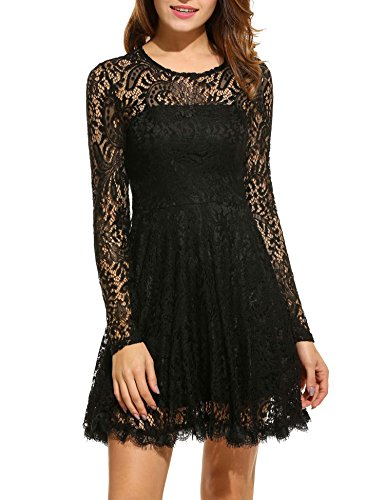 ANGVNS Women Floral Lace Vintage Long Sleeve Fit and Flare Cocktail Dress, Black, XL (Long Sleeve Fit And Flare Wedding Dress)