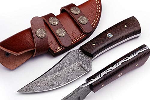 Grace Knives Handmade Damascus Steel Hunting Knife Fixed Blade Knife 8 with Leather Sheath G-231