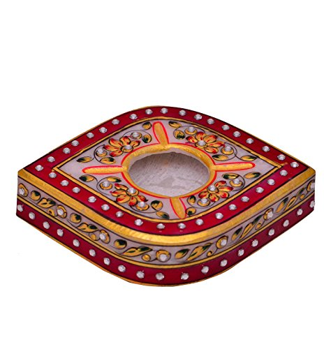 Purpledip Indian gift item: Handpainted Marble Ashtray (10574)