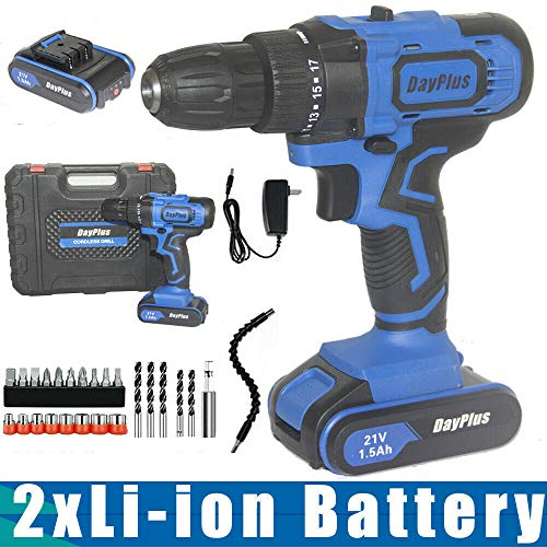 21V Cordless Drill Driver Electric Screwdriver Set with 2Pcs Li-Ion Batteries, 29pcs Drill/Driver Bits, 3/8″ Keyless Chuck, 2 Variable Speed, 18+1 Torque 45Nm, with LED & Magnet & Hammer Functions