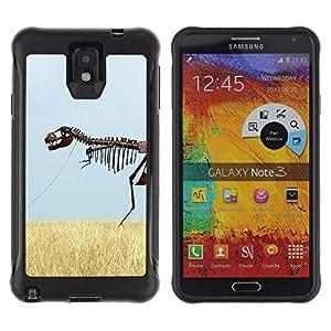 LASTONE PHONE CASE / Suave Silicona Caso Carcasa de Caucho Funda para Samsung Note 3 / Skeleton Dinosaur Field Nature Grass Sky