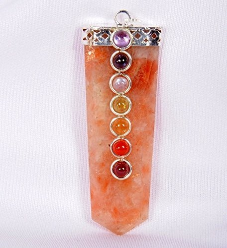 Sunstone Flat Chakra Pendant 2 inch approx. A++ Top Grade Jet International Healing Spiritual Divine India Crystal Therapy Geometry