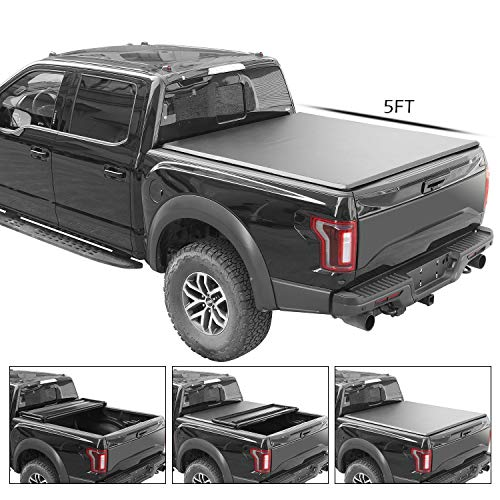 TURBO SII Soft Tri-Fold Tonneau Cover Work with 2015-2018 Nissan Frontier Fleetside Styleside 5' 5ft Truck Pickup Bed | 5 Years Warranty (Bed Cover 2018 Nissan Frontier)