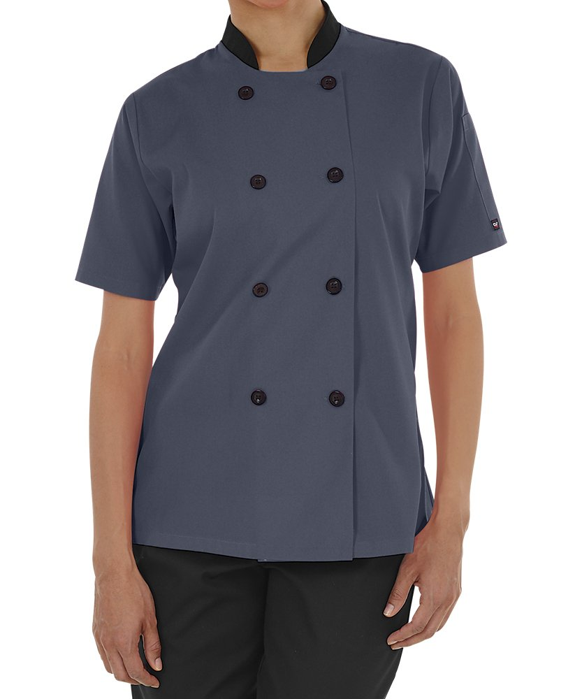 Women's Lightweight Short Sleeve Chef Coat (XS-3X, 3 Colors) (X-Large, Granite/Black)